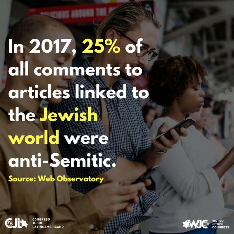 Add hea1 of every 4 comments in notes of digital newspapers linked to the jewish world in 2017 was anti semitic. source  web observatoryding